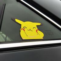 kucar比皮卡丘汽车贴纸创意个性车窗玻璃装饰贴动漫卡通划痕遮挡 10x6.5cm 两张