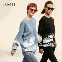 【券后�A估�r:124元】Amii�O�撞色慵�忻�衣2020新款��松套�^外穿�A�I���奶�{上衣女