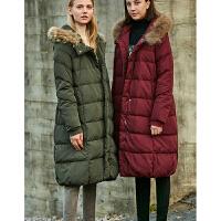 【到手价:476元】Amii极简时尚冬新款90白鸭绒大毛领羽绒服女2019连帽长款加厚外套