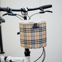 () 山地车车筐 加厚帆布前筐儿童车滑板电动自行车篮子折叠车前车筐 短款通用 黄格加盖