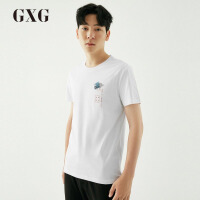 【GXG过年不打烊】GXG男装 夏季男士时尚都市青年气质韩版流行修身白色短袖T恤男
