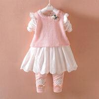 公主裙子两件套 童装女宝宝秋冬装加绒套装0-1-2-3岁女婴儿衣服
