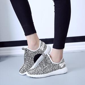 环球秋季新款韩版飞织布女鞋 系带平底低帮鞋纯色休闲鞋