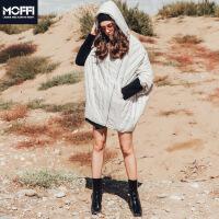 女式羽绒服冬季新款宽松斗篷型长款五分袖女式外套