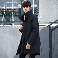 新款修身中长款羽绒服男士青年学生立领加厚保暖白鸭绒大衣外套男