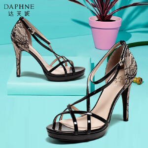 Daphne/达芙妮女鞋夏季时尚蕾丝交叉带一字扣高跟鞋凉鞋