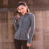 运动外套女秋冬健身衣弹力跑步训练瑜伽服女上衣速干长袖连帽紧身