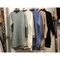 W5麻花毛衣女冬中长款高领 宽松打底衫韩版套头长袖针织衫加厚0.7