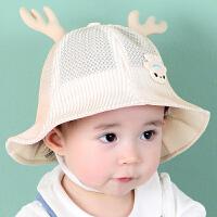 婴儿帽子6-12个月薄网眼盆帽女宝宝遮阳渔夫帽春夏1-2岁