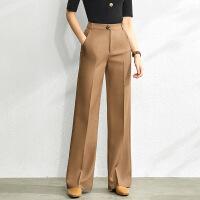 【到手价:140元】Amii极简洋气职业显瘦西装裤女2020春季新款宽松高腰直筒休闲长裤