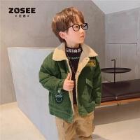 ZOSEE左西童装男童外套冬款儿童灯芯绒中大童冬装2021新款洋气潮