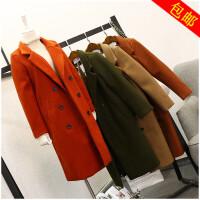 冬季新款宽松纯色长袖中长款开叉外套女 9805