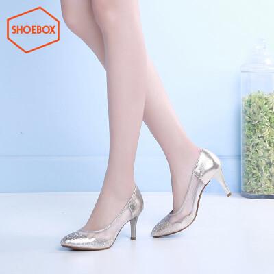 达芙妮旗下鞋柜shoebox时尚套脚女鞋潮 浅口酒杯跟尖头单鞋女