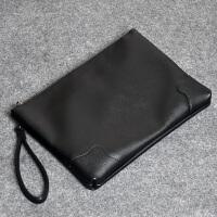 男士手包韩版时尚潮流PU男包商务手抓信封包IPAD文件包复古手拿包 黑色