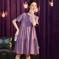 【2.5折价47.7元】宽松连衣裙新款夏季紫色裙子女t恤裙短袖a字娃娃裙小个子显瘦A