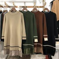 F4中长款半高领套头毛衣女冬加厚打底衫针织连衣裙韩版毛衣裙0.54