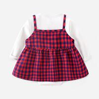宝宝三角哈衣0-3个月新生儿两件套爬服1岁婴儿包屁衣女婴公主衣服