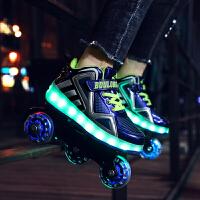 变形鞋溜冰鞋双排轮旱冰鞋儿童四轮滑冰鞋男女轮滑鞋暴走鞋初