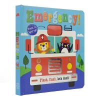 Emergency! 紧急情况 闪光灯 纸板翻翻玩具书 百科科普知识 儿童启蒙纸板图画书 英文原版进口图书