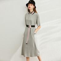 【到手价:140元】Amii复古学院风连衣裙2020夏新款中长款收腰显瘦polo领卫衣裙子女