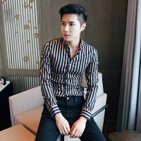 韩版条纹修身长袖衬衣男士青年韩版英伦条纹长袖衬衫
