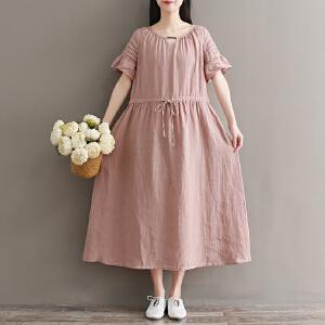 RANJU 然聚2018女装夏季新品新款北欧复古夏新品亚麻风琴褶维多利亚宽松短袖长连衣裙