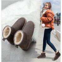 �W古�{登雪地靴女2020新款冬季中筒女靴短靴防水冬鞋真皮加�q棉鞋