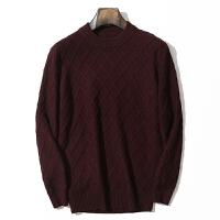 秋冬季男士加厚羊绒衫羊绒菱形格圆领套头修身显瘦毛衣针织衫