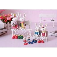 吊脚娃娃摆件装饰品摆件结婚礼物啊可爱兔兔四口之家工艺摆件