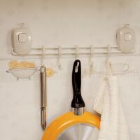 欧润哲 创意双按压式强力吸盘五连挂钩 厨房餐具浴室毛巾收纳挂架