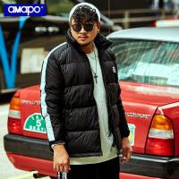 【限时秒杀价:229元】AMAPO潮牌大码男装冬季加肥加大码宽松保暖羽绒服潮胖子肥佬外套