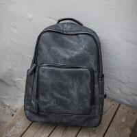 双肩包男时尚潮流韩版旅行背包男士商务休闲电脑包高中大学生书包 气质黑 收藏-送小礼物