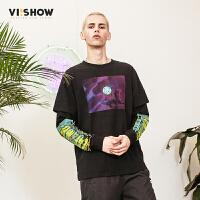 VIISHOW新款T恤2018春季潮流男士套头圆领上衣长袖体恤韩版宽松t