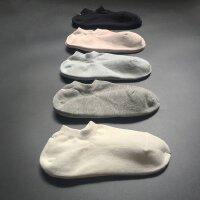 五双礼盒装KC精品袜子女全棉浅口防臭吸汗耐穿不起球隐形船袜 浅灰色 5双 均码