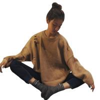 秋冬韩版chic慵懒风宽松网红破洞马海毛套头毛衣针织衫上衣外套女 均码