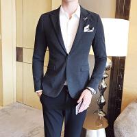 年纯色西装男外套修身韩版帅气单西上衣男士休闲小西服外套男 深灰色 M