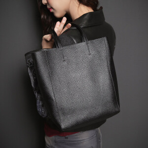 七格格 头层牛皮质感高端黑色时尚真皮手提皮包