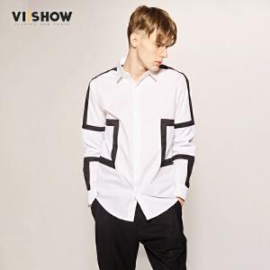 viishow潮牌男装长袖衬衫207春季纯棉方领拼接青年衬衣黑白寸衫