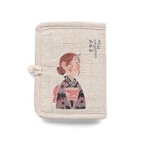 文艺日系学生棉麻布艺手工钱包女短款小清新折叠零钱