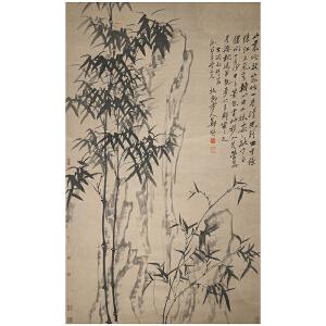 Q2236 郑板桥(款)《竹石图》(北京文物公司旧藏、原装旧裱满斑、并有黄宾虹等名家收藏印。)