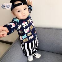 女婴儿卫衣0岁6个月男宝宝套头圆领上衣秋冬装秋季外出服