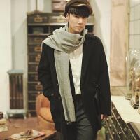 潮牌男士双面羊绒大衣男韩版修身毛呢风衣冬季中长款呢子青年帅气