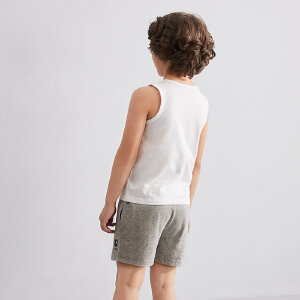 【尾品汇 5折直降】amii童装2017夏季女童休闲套装圆领薄背心卡通印花短裤两件套