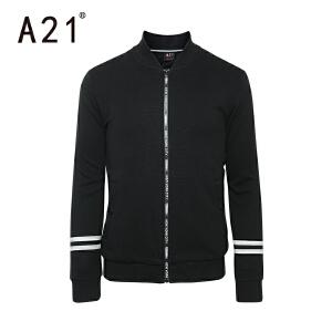 以纯A21男装春季棒球服 街头针织夹克 青年外套男修身纯棉长袖上衣潮