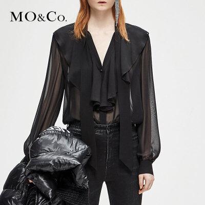 MOCO冬季新品V领系带荷叶边桑蚕丝上衣MA184TOP130 摩安珂 满399包邮 性感V领 轻盈真丝