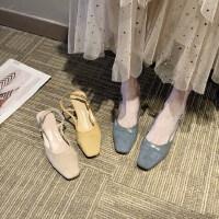 新款韩版百搭包头粗跟一字扣仙女风高跟鞋复古罗马凉鞋女