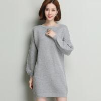 中长款纯色羊毛衫 韩版宽松显瘦打底羊毛毛衣女 毛衣裙长袖针织衫