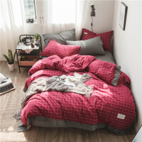 北欧裸睡水洗棉床单四件套被套棉三件套格子1.8m床简约棉