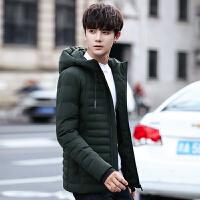 男士棉衣新款冬季外套韩版修身帅气加厚棉袄短款潮流青年男装 绿色 M