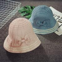 儿童渔夫帽女童大沿盆帽春夏可折叠遮阳帽沙滩帽防晒公主帽韩版潮